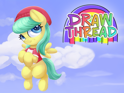 Size: 1988x1491 | Tagged: 4chan, artist:anonymous, barley barrel, beanie, blank flank, clothes, cloud, drawthread, female, filly, flying, freckles, happy, hat, logo, looking up, /mlp/, nostrils, pegasus, pony, rainbow, rainbow roadtrip, safe, shirt, sky, smiling, solo, spoiler:rainbow roadtrip, text, t-shirt