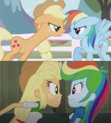 Size: 1143x1259 | Tagged: angry, applejack, comparison, earth pony, edit, equestria girls, pegasus, pony, rainbow dash, rainbow rocks, safe, screaming, screencap, the ticket master