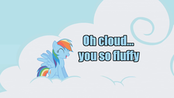 Size: 640x360 | Tagged: caption, cloud, fluffy, happy, image macro, pegasus, pony, rainbow dash, safe, sky, text