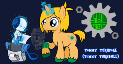 Size: 5600x2907 | Tagged: artist:thebigchillqueen, artist:thebig-chillqueen, backpack, colt, crossover, cutie mark, high res, male, ponified, pony, robot, robotboy, safe, tommy turnbull, unicorn