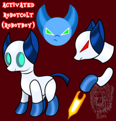 Size: 2912x3038 | Tagged: artist:thebigchillqueen, artist:thebig-chillqueen, crossover, high res, ponified, pony, red eyes, robot, robotboy, safe, solo