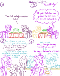 Size: 1280x1611 | Tagged: safe, artist:adorkabletwilightandfriends, bon bon, sugar belle, sweetie drops, twilight sparkle, oc, oc:ellen, alicorn, earth pony, pony, unicorn, comic:adorkable twilight and friends, adorkable, adorkable twilight, apple, apple pie, butt, checkstand, cherry pie (food), comic, cute, dork, double standard, food, funny, glowing horn, grocery store, horn, humor, magic, peach pie, pie, plot, revenge, telekinesis, twilight sparkle (alicorn)