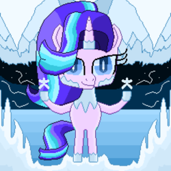 Size: 3824x3824 | Tagged: artist:superhypersonic2000, bipedal, cave, female, hoof hold, ice, mare, pixel art, pony, safe, snow, snowflake, solo, starlight glimmer, unicorn