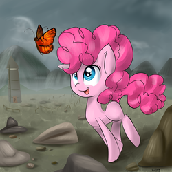 Size: 4000x4000   Tagged: safe, artist:koijoy, pinkie pie, butterfly, earth pony, pony, blank flank, cute, diapinkes, female, filly, filly pinkie pie, looking at something, open mouth, pronking, rock farm, solo, younger