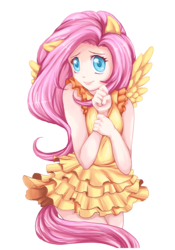 Size: 1400x2000 | Tagged: artist:syertse, clothes, colored pupils, cute, dress, eared humanization, fluttershy, human, humanized, safe, shyabetes, simple background, solo, tailed humanization, transparent background, winged humanization, wings