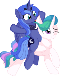 Size: 5924x7576   Tagged: safe, artist:cyanlightning, princess celestia, princess luna, alicorn, pony, .svg available, absurd resolution, cute, duo, ear fluff, female, luna riding celestia, mare, missing accessory, one eye closed, ponies riding ponies, riding, s1 luna, sibling love, siblings, simple background, sisterly love, sisters, sitting, smiling, standing, tongue out, transparent background, vector