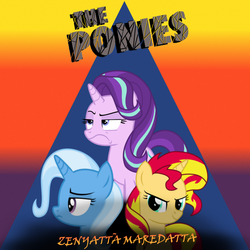 Size: 2000x2000 | Tagged: 80s, artist:crystalmagic6, artist:frownfactory, artist:grapefruitface1, artist:light262, crossover, parody, ponified, ponified album cover, pony, safe, starlight glimmer, sunset shimmer, the police, trio, trixie, unicorn