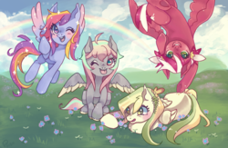 Size: 1224x800   Tagged: safe, artist:poiizu, oc, oc:candy star, oc:glittering cloud, oc:morning dew, oc:petal grove, pegasus, pony, cloud, flower, flying, grass, group, group photo, mountain, one eye closed, rainbow, sky, smiling, tongue out, upside down, wink