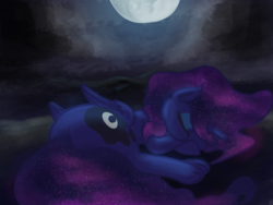 Size: 2000x1500 | Tagged: alicorn, artist:t72b, atg 2019, cloud, cloudy, derpibooru exclusive, ethereal mane, female, galaxy mane, lying down, mare, moon, newbie artist training grounds, night, pony, princess luna, safe, sleeping, solo, starry mane