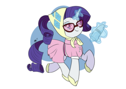 Size: 842x595 | Tagged: safe, artist:shelltoon, rarity, pony, unicorn, camping outfit, clothes, dress, female, glasses, magic, magic aura, newbie artist training grounds, simple background, solo, transparent, transparent background, trotting, water bottle
