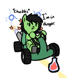 Size: 889x1040 | Tagged: safe, artist:cutelewds, oc, oc:filly anon, beaker, blue fire, crash team racing, female, filly, fire, kart, meme, missile, racing, text