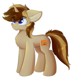 Size: 1174x1228 | Tagged: safe, artist:lunar froxy, oc, oc only, oc:reese's cup, oc:reesescup, pony, unicorn, cheek fluff, chest fluff, ear fluff, eye clipping through hair, fluffy, leg fluff, looking up, male, shoulder fluff, simple background, smiling, solo, stallion, transparent background
