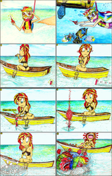 Size: 1968x3104 | Tagged: safe, artist:meiyeezhu, rainbow dash, sunset shimmer, fish, human, equestria girls, equestria girls series, anime, armpits, belly button, boat, breasts, bubbling, busty sunset shimmer, caught, clothes, comic, coughing, denied, eating, fishing net, fishing rod, food, funny, goggles, hilarious, hot sauce, humanized, karma, laughing, oar, ocean, old master q, parody, red face, reference, scissors, sitting, sneezing, snorkel, snorkeling, spicy, summer, summer sunset, swimming, swimsuit, tabasco, underwater