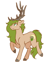 Size: 800x1000   Tagged: safe, artist:flaming-trash-can, oc, oc only, oc:xander, deer pony, original species, antlers, colored, cutie mark, flat colors, floppy ears, raised hoof, sidemouth, simple background, solo, white background