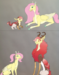 Size: 1911x2449 | Tagged: artist:nightshade2004, cloven hooves, draconequus, female, fluttershy, hybrid, interspecies offspring, male, mother and son, oc, oc:lisianthus, offspring, older, parent:discord, parent:fluttershy, parents:discoshy, pony, prone, safe, two toned wings, wings