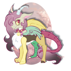 Size: 2625x2625 | Tagged: artist:darkpathwalker9900, bell, bell collar, collar, draconequus, draconequus oc, female, hybrid, interspecies offspring, oc, oc:fluffy, offspring, parent:discord, parent:fluttershy, parents:discoshy, safe, simple background, solo, transparent background