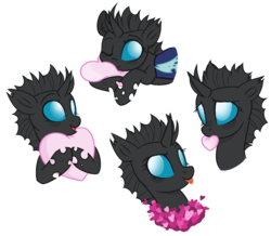Size: 1852x1612 | Tagged: source needed, safe, artist:arshe12, oc, oc:tectus ignis, changeling, cute, female, heart, mouth hold, ocbetes, open mouth, simple background, smiling, solo, tongue out, transparent background