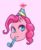 Size: 662x802 | Tagged: artist:jaegerjaques, blue eyes, disembodied head, earth pony, happy, hat, head, manga, party hat, pink, pinkie pie, pony, portrait, safe, smiling, solo