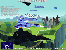 Size: 3600x2770 | Tagged: safe, artist:lonewolf3878, princess luna, alicorn, pony, a-10 thunderbolt ii, aircraft, b-1b lancer, b-2 spirit, b-52, castle of the royal pony sisters, f-14 tomcat, f-22 raptor, female, fighter plane, flying, machine, mare, mountain, new lunar republic, plane, propaganda, propaganda poster, rainbow dash cutie mark, ravine, ruins, scenery, solo, su-37 flanker-f, text