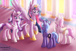 Size: 3000x2000 | Tagged: alicorn, alicornified, alternate universe, artist:shad0w-galaxy, canterlot, cewestia, ethereal mane, female, filly, galaxy mane, high res, hoof shoes, mare, patreon, pink-mane celestia, pony, princess celestia, princess luna, princess starlight glimmer, race swap, role reversal, royal sisters, safe, starlicorn, starlight glimmer, twilight sparkle, twilight sparkle (alicorn), ultimate twilight, unicorn, unicorn luna, woona, xk-class end-of-the-world scenario, young celestia, younger, young luna