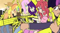 Size: 1024x558   Tagged: safe, artist:shrimpshogun, derpibooru exclusive, applejack, fluttershy, pinkie pie, rainbow dash, rarity, twilight sparkle, human, bow (weapon), fanfiction idea, gun, humanized, mane six, minigun, pencil, rifle, rocket launcher, sniper rifle, tommy gun, weapon