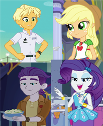 Size: 964x1176 | Tagged: safe, artist:brandonale, applejack, dirk thistleweed, ragamuffin (equestria girls), rarity, accountibilibuddies, equestria girls, equestria girls series, spring breakdown, street chic, super squad goals, spoiler:choose your own ending (season 2), spoiler:eqg series (season 2), accountibilibuddies: rainbow dash, comparison, geode of shielding, geode of super strength, magical geodes