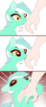 Size: 1040x2400 | Tagged: 3 panel comic, artist:evehly, bad pony, behaving like a cat, biting, blood, comic, cute, dilated pupils, female, hand, human, licking, lyrabetes, lyra heartstrings, mare, motion blur, offscreen character, pony, safe, sniffing, that escalated quickly, that pony sure does love hands, tongue out, unicorn
