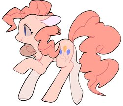 Size: 871x749 | Tagged: safe, artist:hayabusa0rio, pinkie pie, earth pony, pony, chest fluff, cute, diapinkes, female, mare, no pupils, profile, simple background, solo, white background