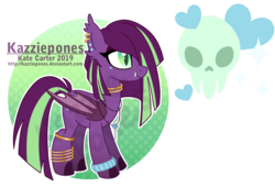 Size: 1024x697 | Tagged: artist:kazziepones, bat pony, bat pony oc, ear piercing, earring, female, jewelry, mare, oc, oc:spooky sweets, piercing, pony, reference sheet, safe, simple background, skull, slit eyes, solo, transparent background
