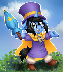 Size: 1107x1280 | Tagged: a hat in time, artist:sabrib, cape, clothes, cosplay, costume, glasses, hat, hat kid, male, oc, oc:tinker doo, safe, solo, top hat, umbrella, unicorn