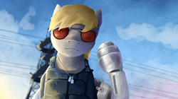 Size: 3838x2156 | Tagged: artist:sapphmod, clothes, cyberpunk, cyberpunk 2077, derpy hooves, dog tags, glasses, looking at you, safe, vest