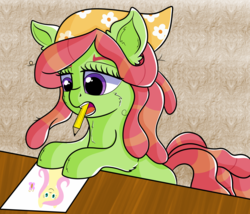 Size: 1976x1688 | Tagged: artist:rainbowtashie, drawing, female, mouth hold, newbie artist training grounds, paper, pencil, pony, safe, simple background, solo, tree hugger