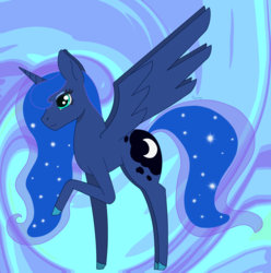 Size: 1967x1981 | Tagged: safe, artist:dyonys, derpibooru exclusive, princess luna, alicorn, abstract background, chibi, cute, female, lunabetes, raised hoof, solo, spread wings, standing, wings