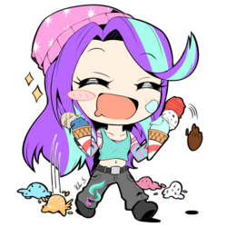 Size: 500x500 | Tagged: artist:banzatou, beanie, belly button, blushing, blush sticker, chibi, clothes, cute, cutie mark on clothes, dessert, dropped ice cream, equestria girls, eyes closed, female, food, glimmerbetes, hat, human, ice cream, ice cream cone, manga style, messy, midriff, open mouth, pants, safe, shoes, simple background, solo, starlight glimmer, that human sure does love ice cream, transparent background