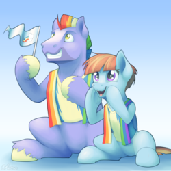 Size: 2000x2000   Tagged: safe, artist:ohemo, bow hothoof, windy whistles, pegasus, pony, parental glideance, atg 2019, cheering, cute, female, flag waving, grin, male, mare, newbie artist training grounds, open mouth, shout, sitting, smiling, stallion