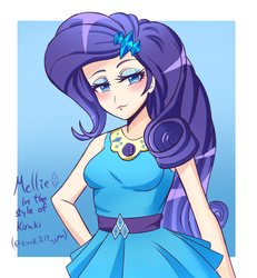 Size: 1200x1300 | Tagged: artist:melliedraws, blushing, clothes, cute, equestria girls, equestria girls series, eyeshadow, female, geode of shielding, hairpin, jewelry, magical geodes, makeup, newbie artist training grounds, raribetes, rarity, safe, skirt, solo, style emulation