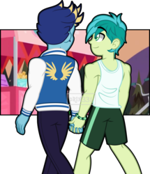 Size: 4307x5014 | Tagged: artist:orin331, bracelet, clothes, equestria girls, equestria girls-ified, gallbar, gallus, gay, holding hands, jacket, jeans, jewelry, legs, looking at each other, male, pants, safe, sandbar, shipping, shorts, simple background, sleeveless, smiling, tanktop, transparent background