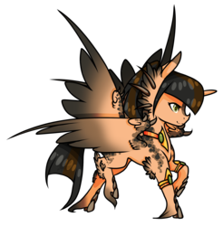 Size: 2100x2132 | Tagged: alicorn, artist:oneiria-fylakas, braham, female, multiple wings, oc, oc:makao, oc only, original species, safe, seraph, seraphicorn, simple background, solo, transparent background
