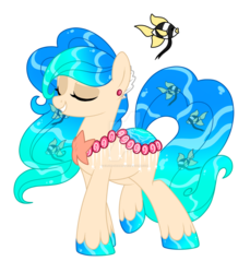 Size: 1280x1397   Tagged: safe, artist:crystal-tranquility, oc, original species, pond pony, deviantart watermark, eyes closed, female, mare, obtrusive watermark, simple background, solo, transparent background, watermark