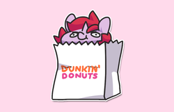Size: 900x581 | Tagged: safe, artist:dawnfire, oc, oc:dawnfire, pony, unicorn, chibi, dunkin donuts, female, mare, paper bag, pony in a bag, simple background, solo