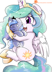 Size: 2550x3509 | Tagged: alicorn, artist:pridark, crown, cute, cutelestia, cutie mark, happy, hoof shoes, hug, jewelry, open mouth, patreon, patreon reward, peytral, plushie, pony, princess celestia, princess luna, regalia, royal sisters, safe, sketch, smiling, watercolor painting