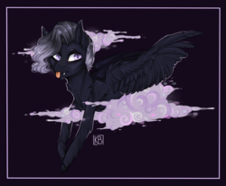 Size: 1865x1536 | Tagged: artist:karamboll, cloud, fangs, glowing eyes, pegasus, pony, safe, short hair, short mane, smoke, solo, tongue out, wings