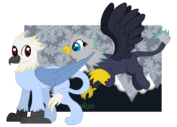 Size: 2500x1800 | Tagged: artist:ponkus, brother and sister, female, griffon, male, mountain, mountain range, oc, oc:apollo swiftbeak, oc:artemis swiftbeak, safe, siblings, twins