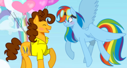 Size: 1630x870 | Tagged: safe, artist:thesmall-artist, cheese sandwich, rainbow dash, pony, balloon, base used, blushing, cheesedash, female, floating, goggles, male, shipping, straight