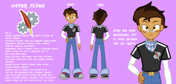 Size: 2666x1280 | Tagged: artist:succubi samus, clothes, commission, equestria girls, equestria girls-ified, glasses, male, oc, oc:copper plume, reference sheet, safe, scarf, simple background