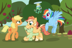 Size: 2600x1733 | Tagged: appledash, applejack, apple tree, artist:thepegasisterpony, family, female, lesbian, magical lesbian spawn, offspring, parent:applejack, parent:rainbow dash, parents:appledash, rainbow dash, safe, shipping, tank, tree