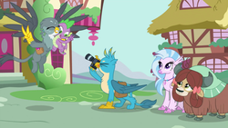 Size: 1920x1080 | Tagged: safe, screencap, gabby, gallus, silverstream, spike, yona, dragon, griffon, dragon dropped, camera, cute, diastreamies, female, gabbybetes, gallabetes, male, peace sign, shipping fuel, winged spike, yonadorable