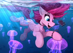 Size: 2300x1678 | Tagged: safe, artist:yakovlev-vad, pinkie pie, earth pony, fish, jellyfish, pony, bubble, camera, cheek fluff, chest fluff, cute, diapinkes, female, mare, ocean, open mouth, shoulder fluff, solo, underwater, water, wet, wet mane