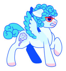 Size: 280x300 | Tagged: safe, artist:guidomista, artist:miiistaaa, artist:nijimillions, derpibooru exclusive, pegasus, pony, accessories, accessory, angry, anime, blue, colored wings, cube, curls, curly, curly hair, curly mane, curly tail, ghiaccio, glasses, gritted teeth, hooves, ice, ice cube, jjba, jojo, jojo's bizarre adventure, male, markings, multicolored wings, one hoof raised, ponified, short hair, short mane, short tail, simple background, solo, stallion, standing, teeth grinding, transparent background, two toned wings, vento aureo, wings