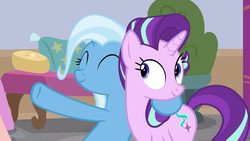 Size: 1280x720 | Tagged: a horse shoe-in, safe, screencap, spoiler:s09e20, starlight glimmer, trixie